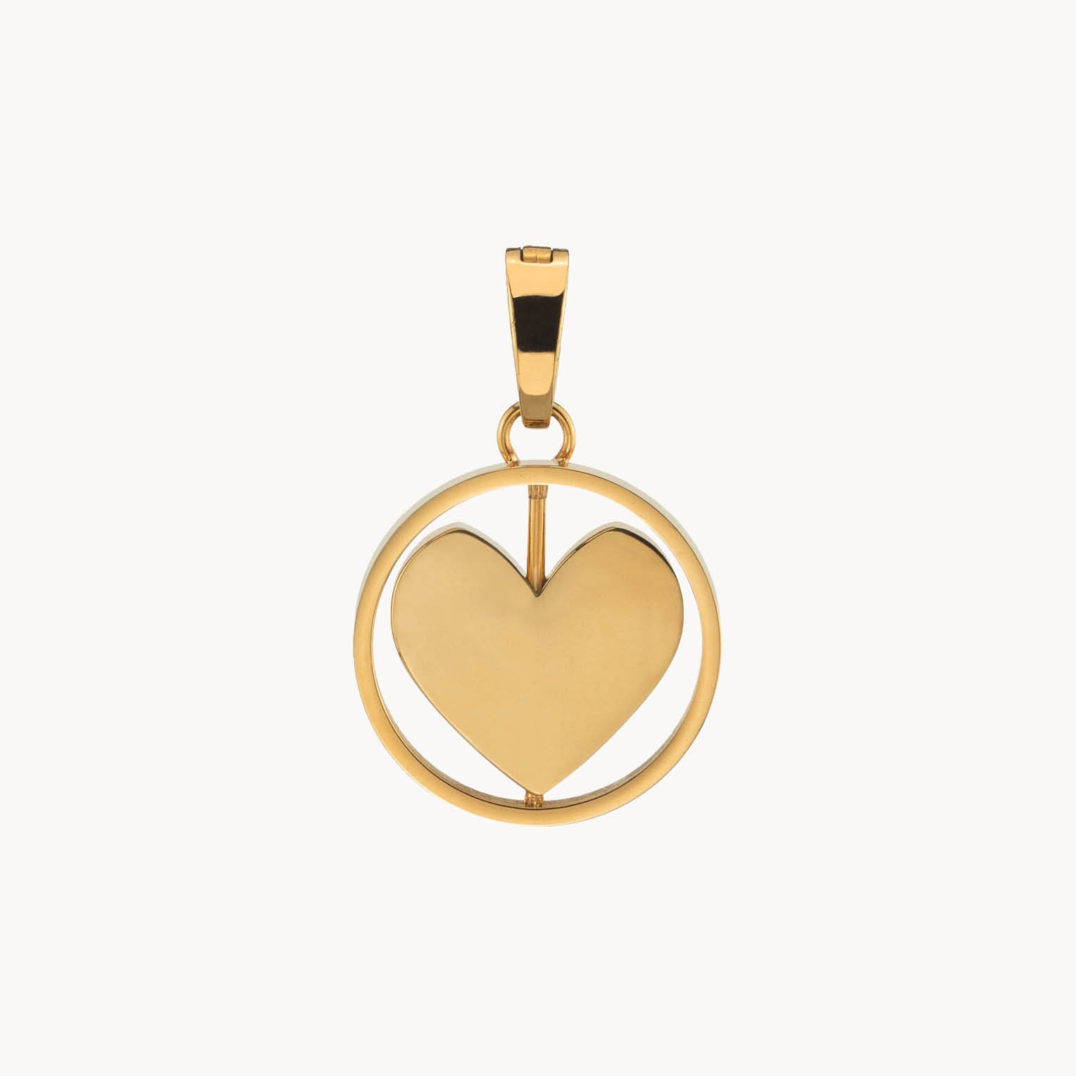 Pendentif gravable Heart Spin, or