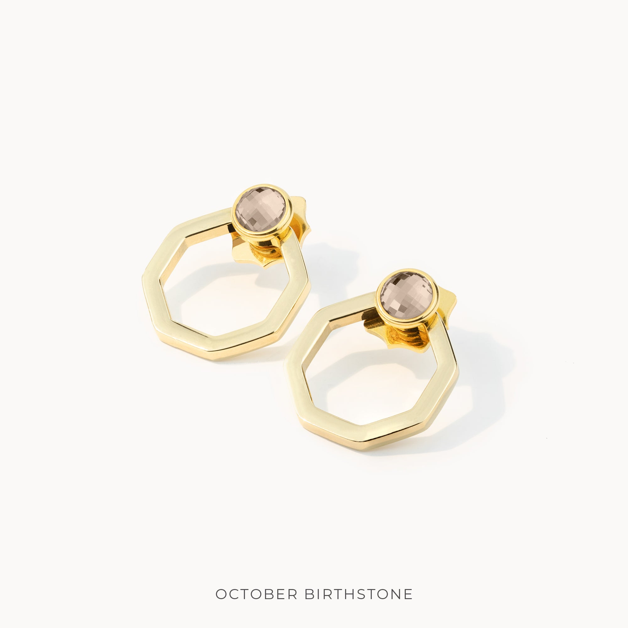 Birthstone Octagon Habbata Earring Pendants Set, Gold