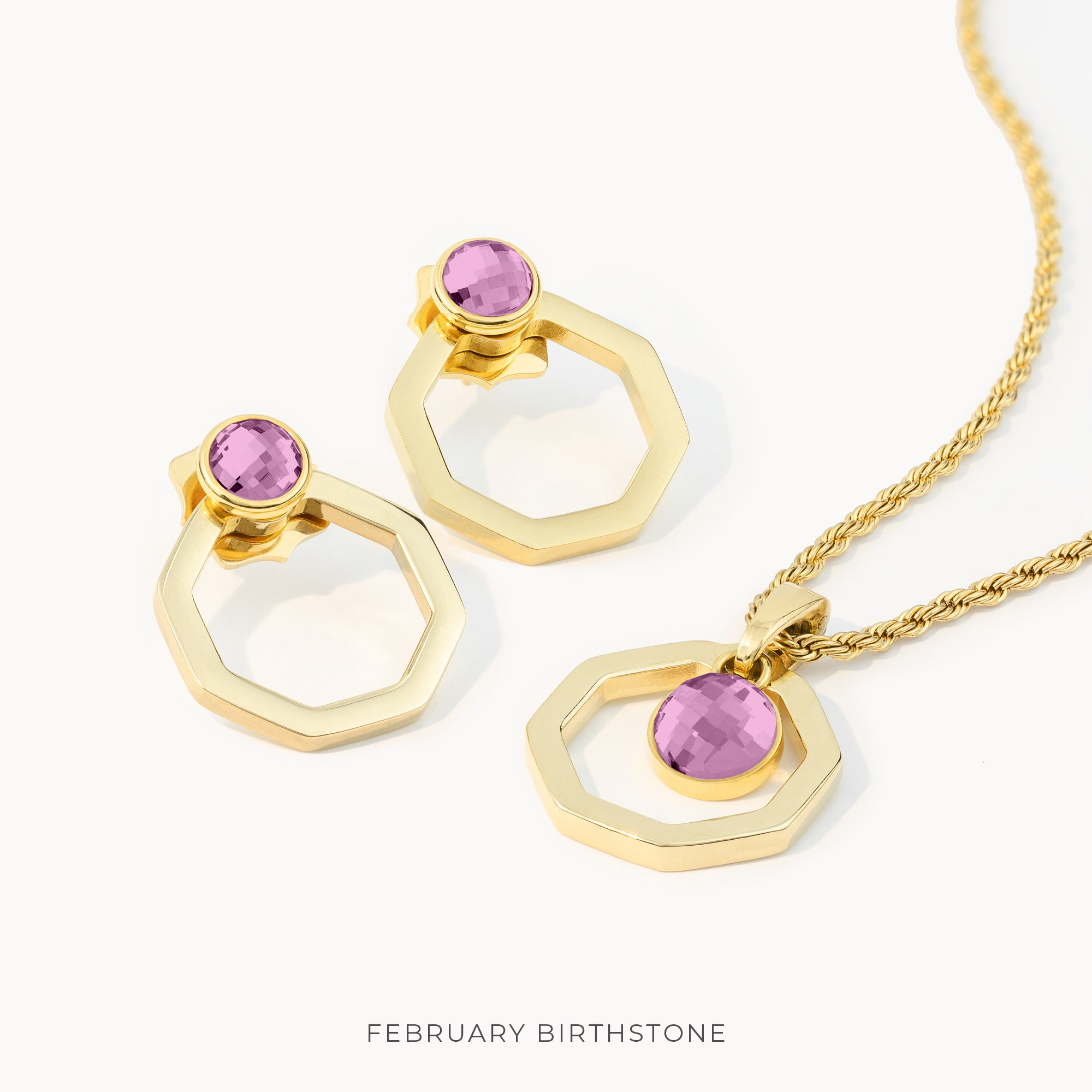 Birthstone Octagon Habbata Full Set, Gold
