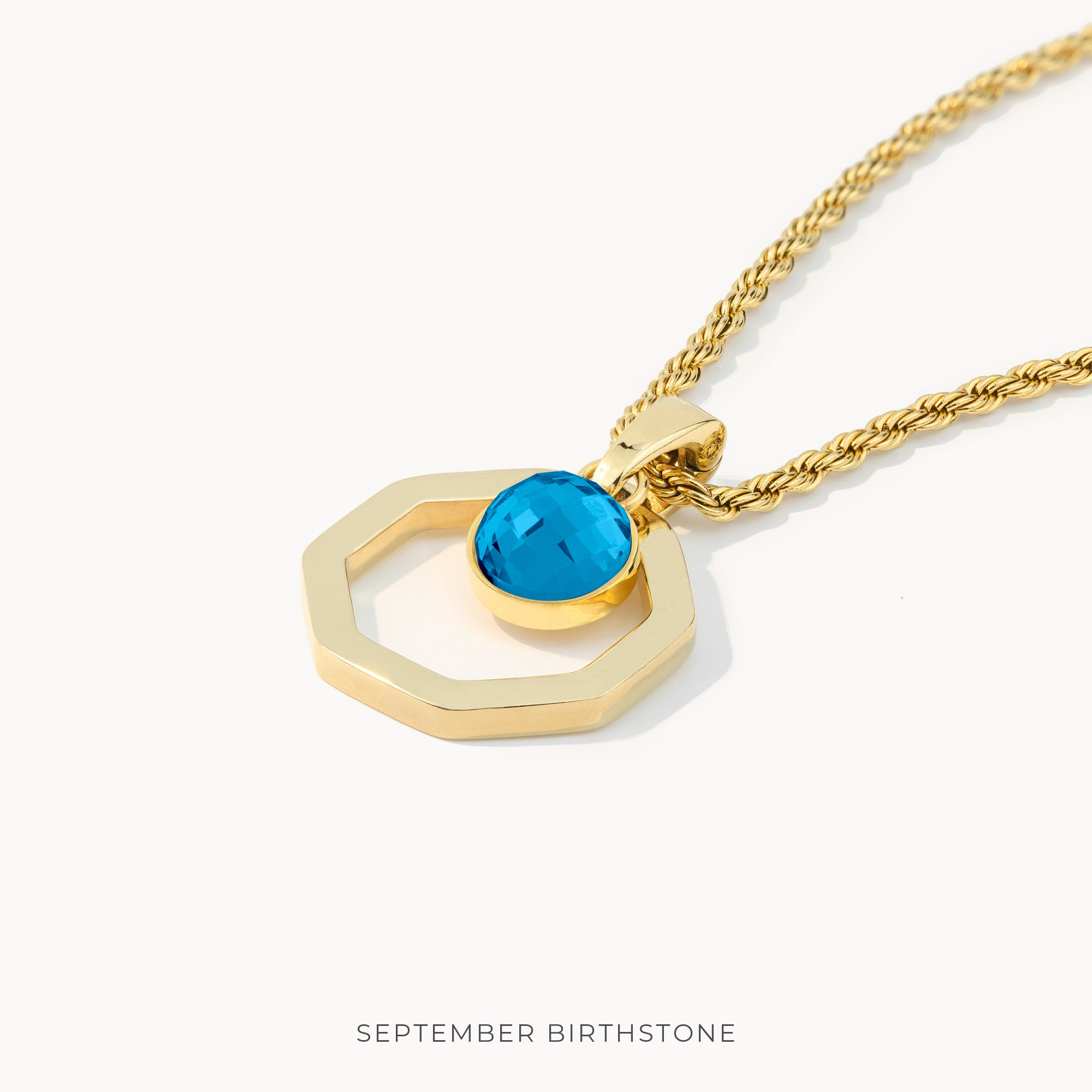 Birthstone Octagon Habbata Necklace Set, Gold