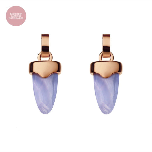 Affection Dainty Arrow Earring Pendants Rose Gold, Blue Lace Agate