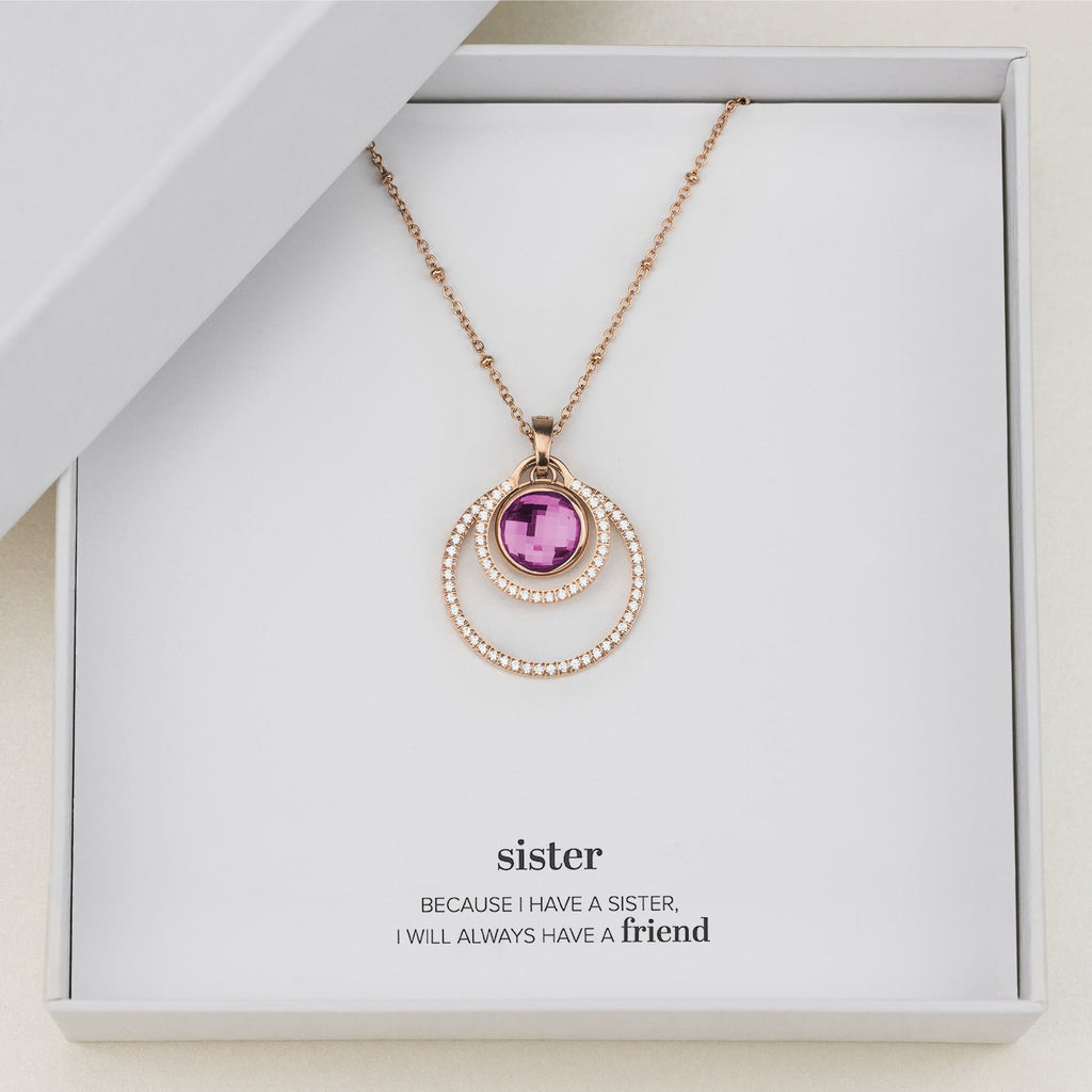 Sister's Joy Halo Necklace Set, Rose Gold