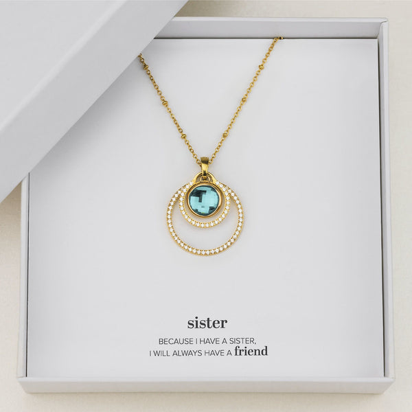 Sister's Peace Halo Necklace Set, Gold