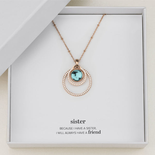 Sister's Peace Halo Necklace Set, Rose Gold
