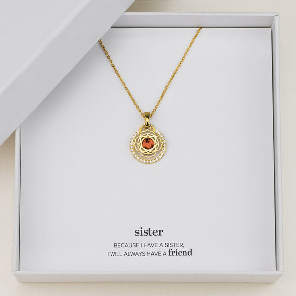 Sister's Happiness Blossom Halo Necklace Set, Gold