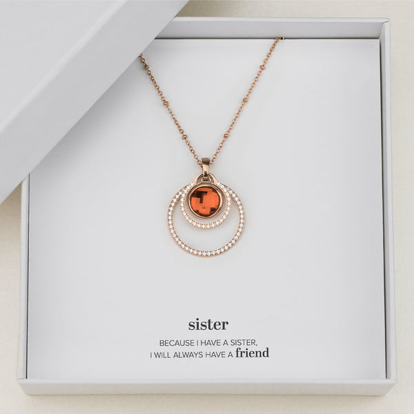 Sister's Happiness Halo Necklace Set, Rose Gold