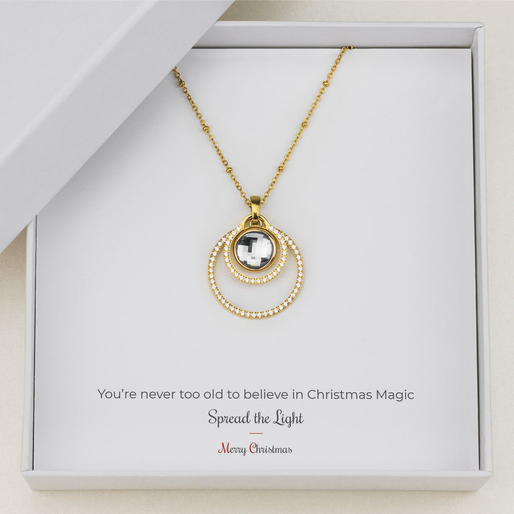 Uniqueness Halo Necklace Set, Gold