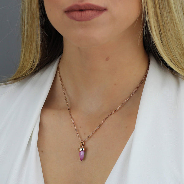 Admiration Dainty Arrow Pendant Rose Gold, Pink Cat Eye