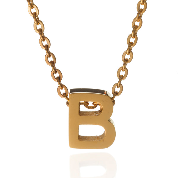 Letter b initial necklace gold