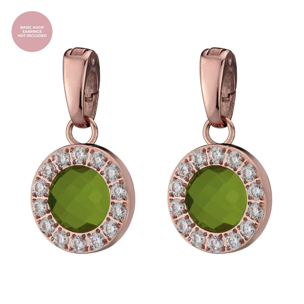 Beauty Sparkle Earring Pendants Rose Gold, Olive Glass