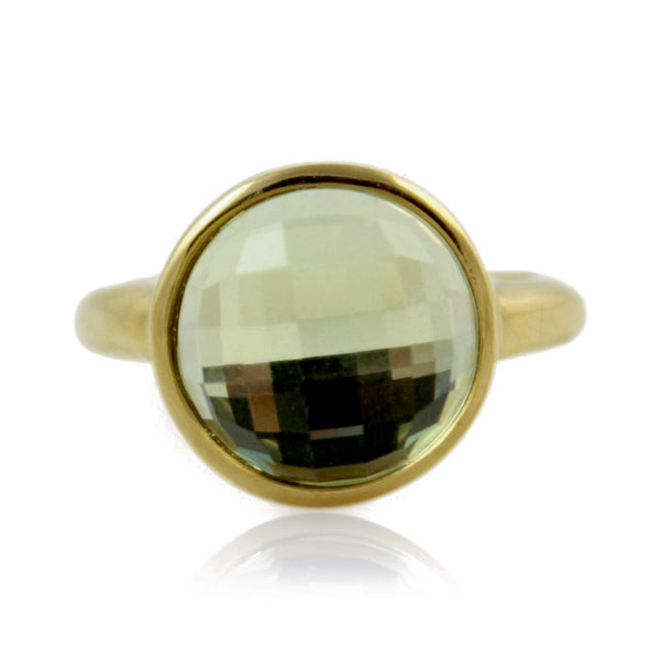 Radiance Gold Ring, Brown Glass
