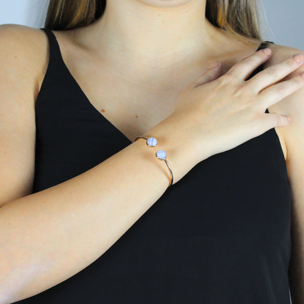 Affection Signature Bangle Rose Gold, Blue Lace Agate