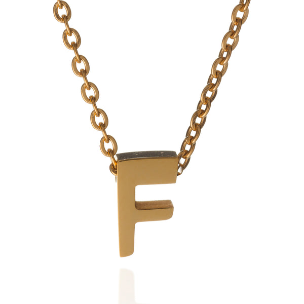 letter f initial necklace gold