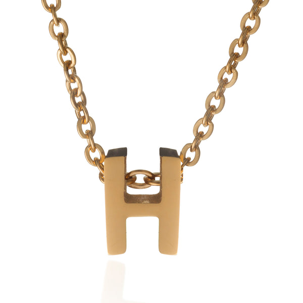 H Letter Initial Necklace Gold Mvintage