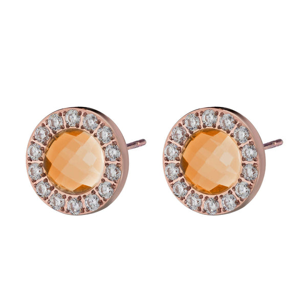 Happiness Sparkle Stud Earrings Rose Gold, Orange Glass