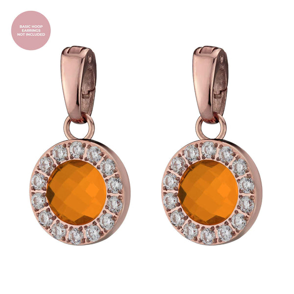 Happiness Sparkle Earring Pendants Rose Gold, Orange Glass