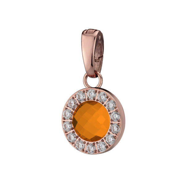 Happiness Sparkle Pendant Rose Gold, Orange Glass