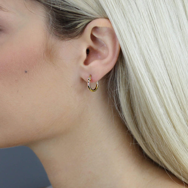 Mvintage Dainty Signature Hoops Rose Gold Earrings