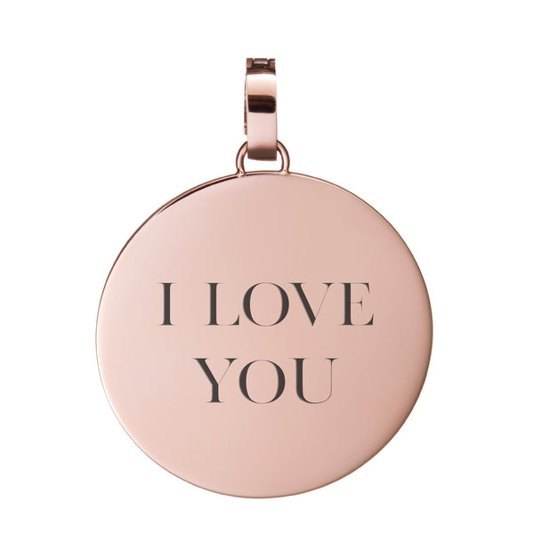 I Love You Medium Disc Pendant, Rose Gold