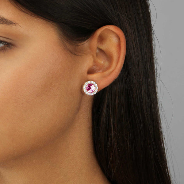 Joy Sparkle Stud Earrings Rose Gold, Magenta Glass