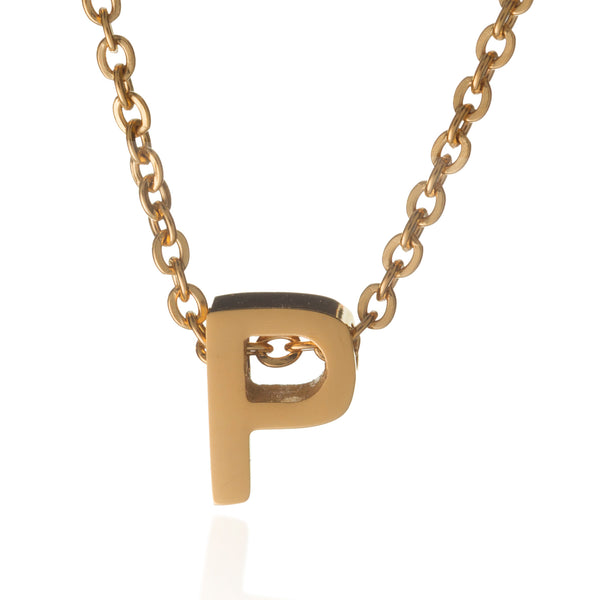 letter p initial necklace gold