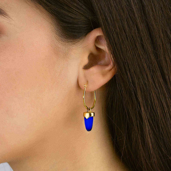 Perseverance Dainty Arrow Earring Pendants Gold, Dark Blue Cat Eye