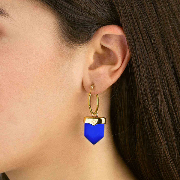 Perseverance Shield Earring Pendants Gold, Dark Blue Cat Eye