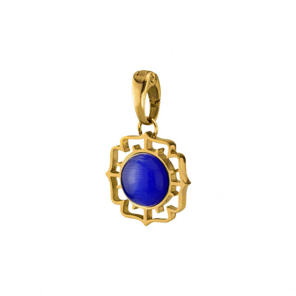 Perseverance Fjura Pendant Gold, Dark Blue Cat Eye