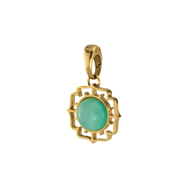 Positivity Fjura Pendant Gold, Green Cat Eye
