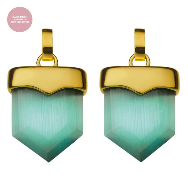 Positivity Shield Earring Pendants Gold, Green Cat Eye