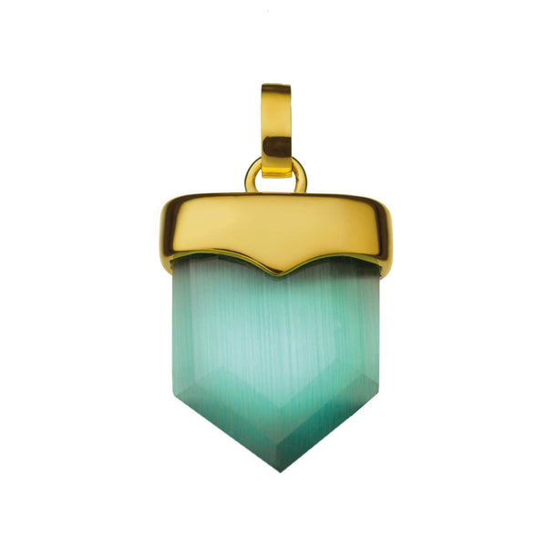 Positivity Shield Pendant Gold, Green Cat Eye