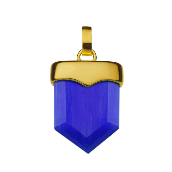 Perseverance Shield Pendant Gold, Dark Blue Cat Eye