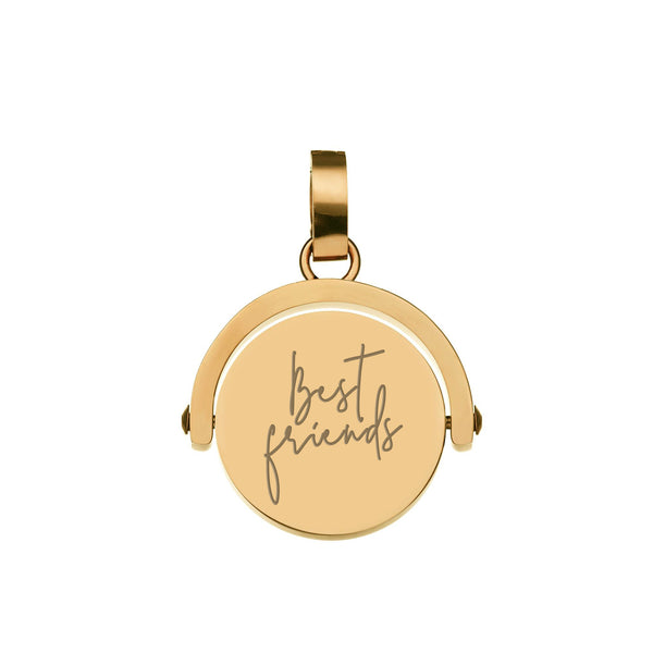 Best Friends Engraved  Spin Pendant, Rose Gold