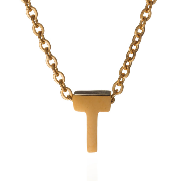 letter t initial necklace gold