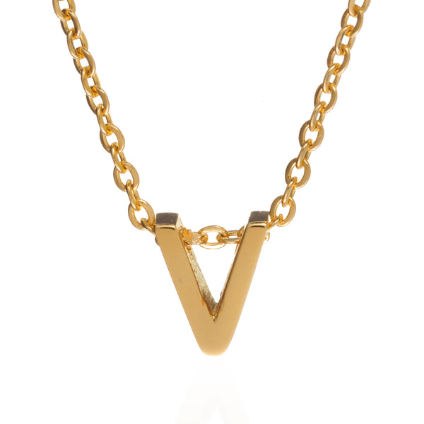 letter v initial necklace gold
