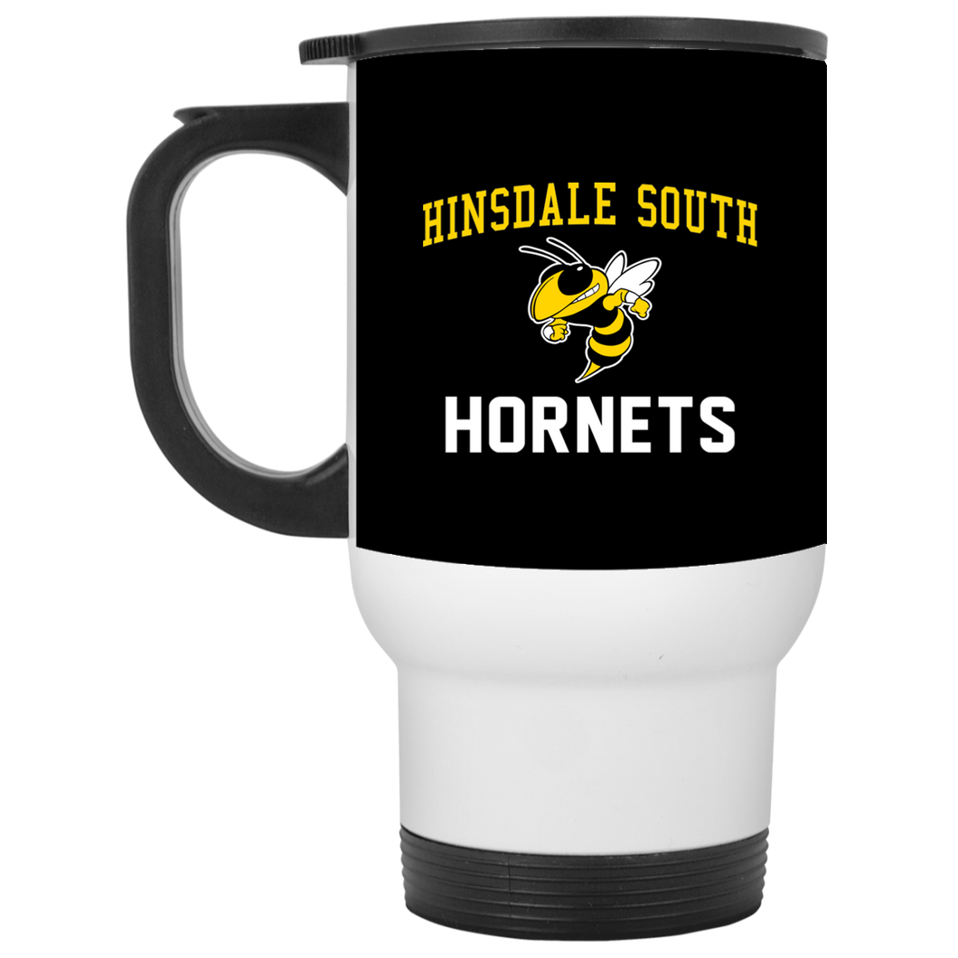 Hinsdale South Hornets White Travel Mug