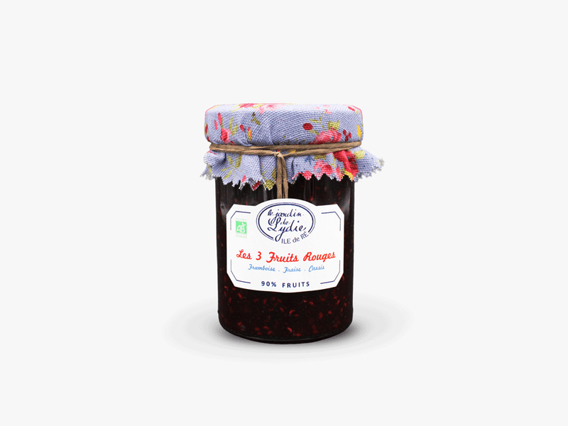 3 fruits rouges - Confiture bio 250g