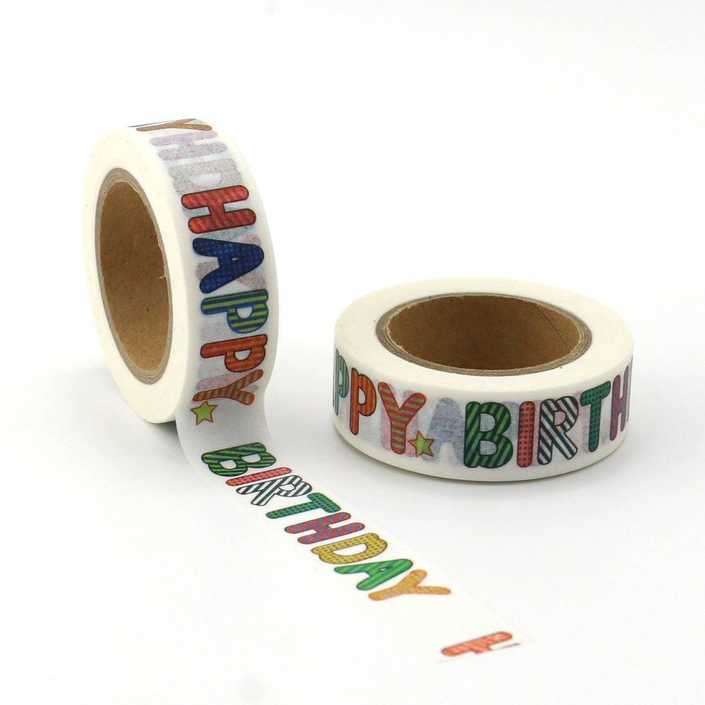 Washi Tape - 15mm - Colourful Happy Birthday