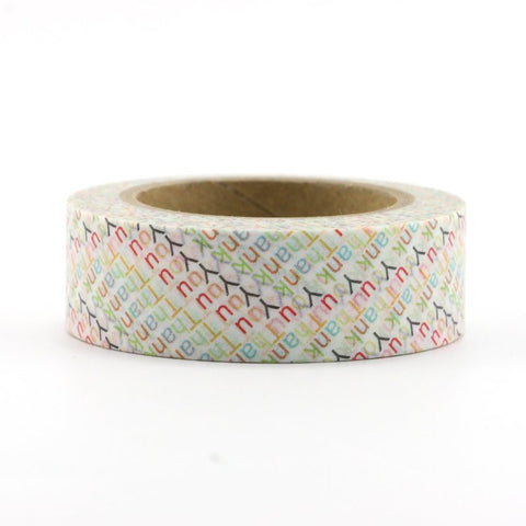 Washi Tape - 15mm - Colourful Thank You