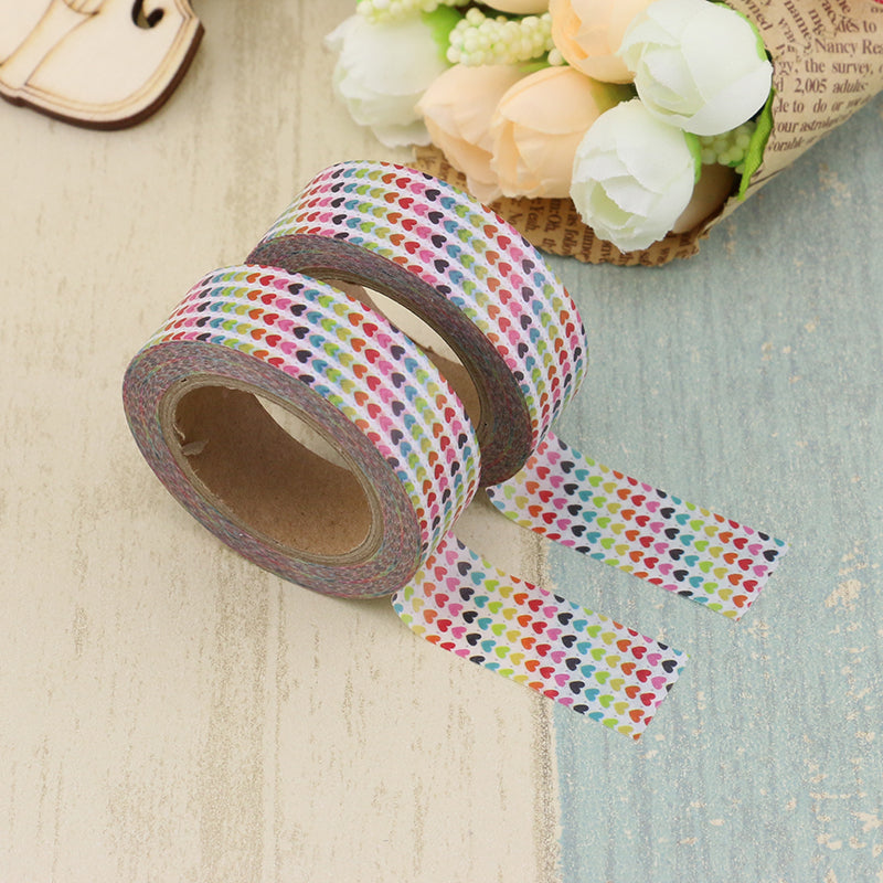 Washi Tape - 15mm - Colourful Tiny Heart