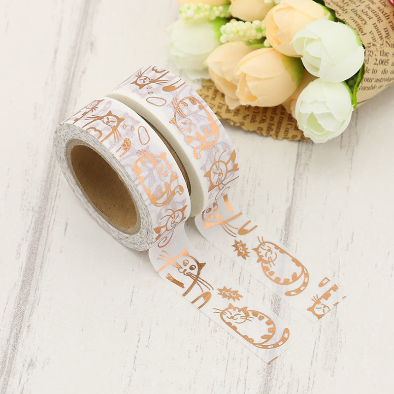 Washi Tape - 15mm - Copper Chubby Cats Foil