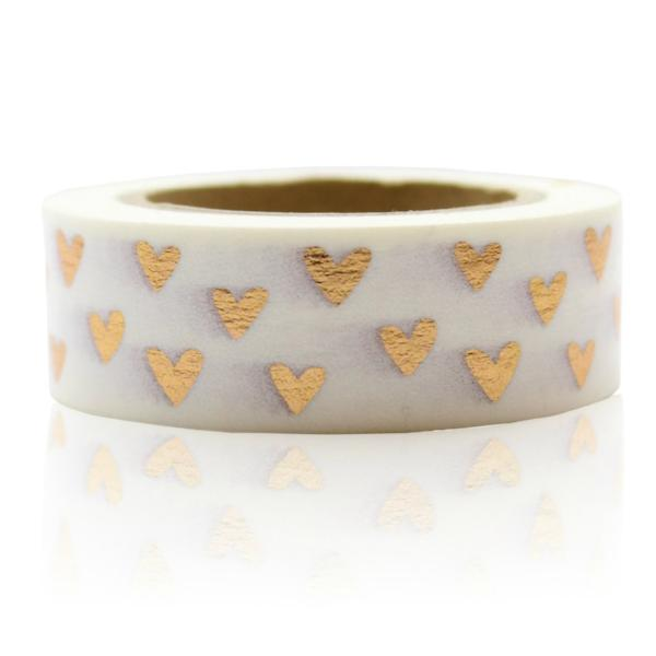 Washi Tape - 15mm - Copper Heart Foil