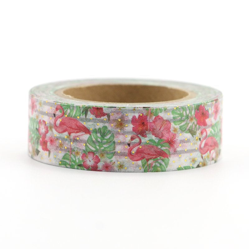 Washi Tape - 15mm - Flamingo with Gold Foil Dots