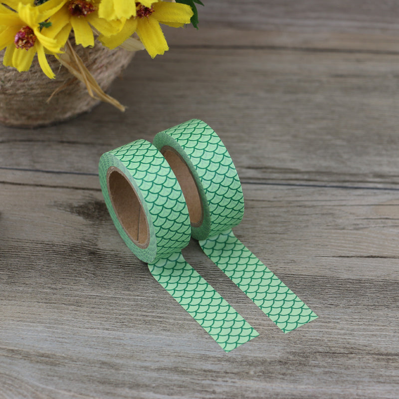 Washi Tape - 15mm - Green Mermaid Scale
