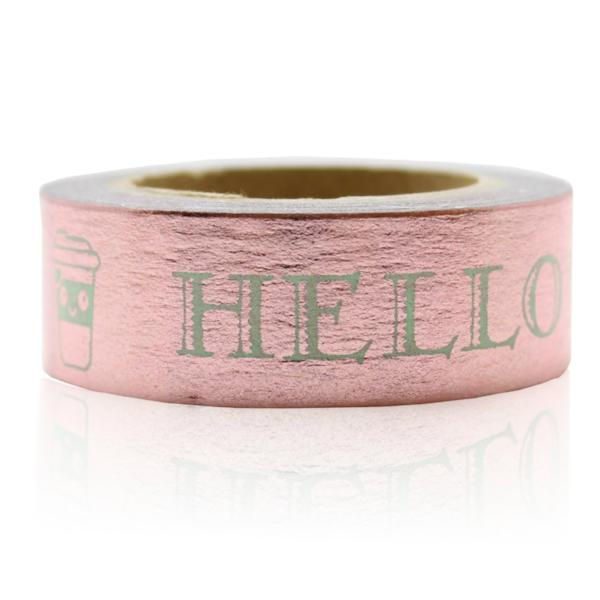 Washi Tape - 15mm - Copper Hello Words Foil