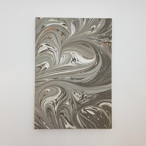 Notebook Hardcover - Limited Edition Gray/Gold Hand Marbled