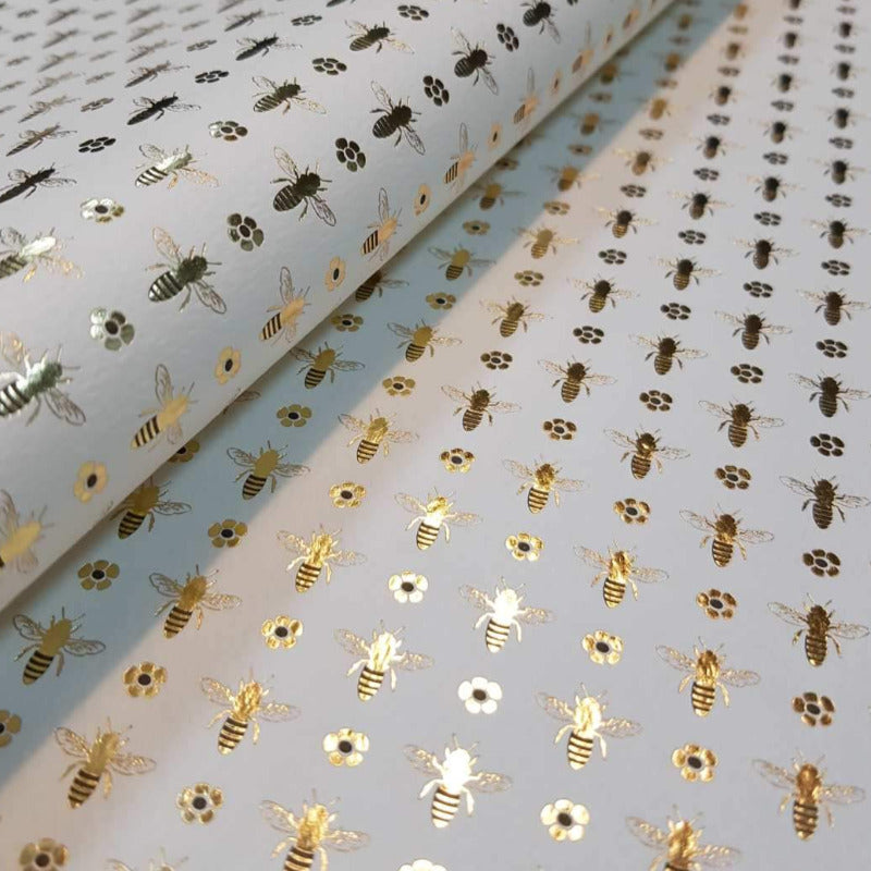 Gift Wrap - Bees - Gold & Black