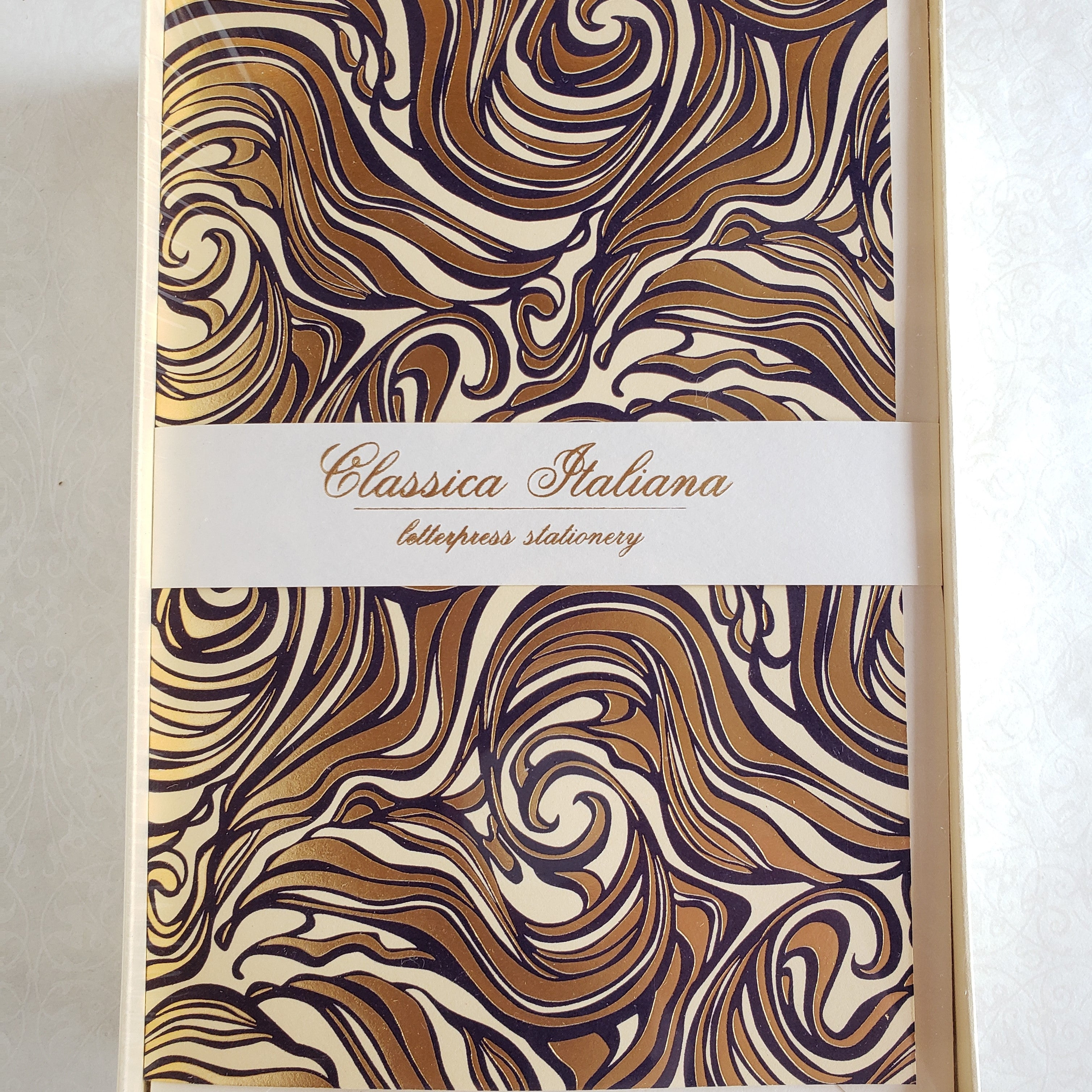Letterpress Marbled Boxed Double Note Card Set - Honey