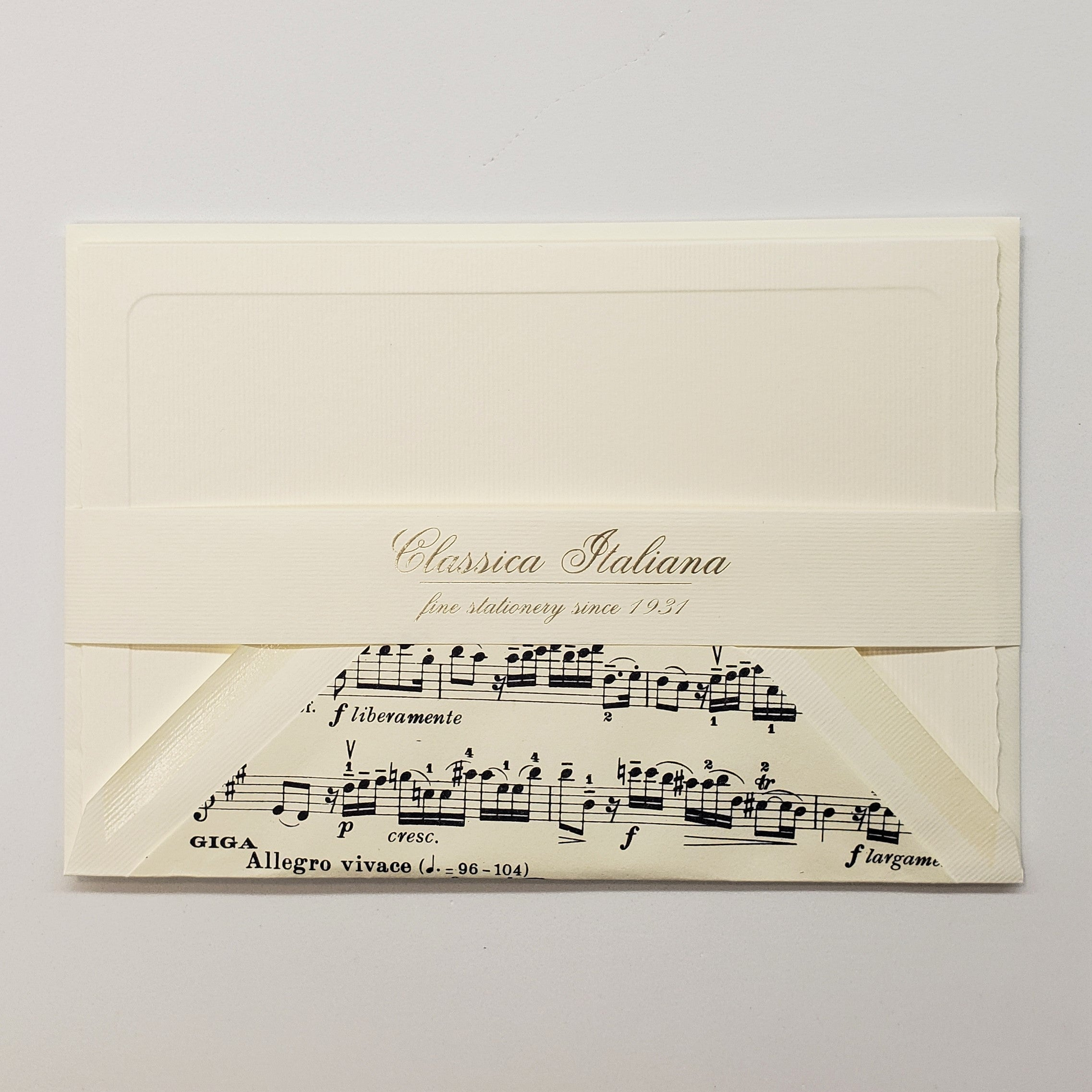 Boxed Lg Double Note Cards w/Lined Envelopes - Classica Italiano - Musical Score