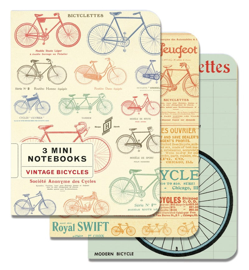 Cavallini 3 Mini Notebooks - Vintage Bicycles